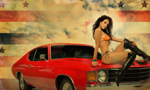 Hot Chick on a Muscle Car